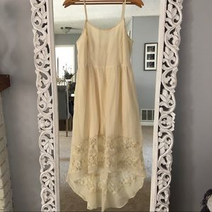 Cream colored, lace detail, high-low midi dress